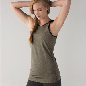 Lululemon In The Flow Tank Heathered Fatigue Green